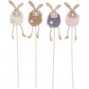 Wooden bunny Enie to stick, 4 colors, W6cm, H10cm,